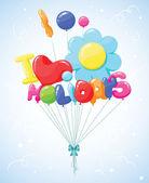 Messaggio di palloncini colorati — Vettoriale Stock