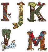 Illuminated letters alphabet - letters IJKLM — Vector de stock