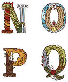 Illuminated letters alphabet - letters NOPQ — Vetorial Stock