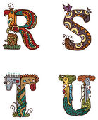 Illuminated letters alphabet - letters RSTU — Vetorial Stock