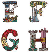 Illuminated letters alphabet - letters EFGH — Vetorial Stock