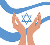 Hands and Israel flag — Stock Vector