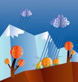 Autumn landscape, paper cut — Stock Vector