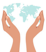 Hands holding the world. — Stock Vector