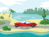 Red car on the beach road — Stock Vector