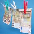 Laundering of fifty euro bills — Stock Photo