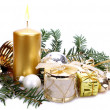 Christmas decoration with candle — Foto de Stock