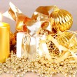 Golden Christmas decoration with candles — Stock Photo #15720957
