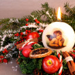 Christmas wreath with candle and angel — Stock Photo #15721201