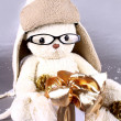 White teddy bear in winter cap and glasses with gift — Stock Photo