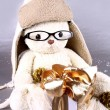 White teddy bear in winter cap and glasses with gift — Stock Photo #15721313