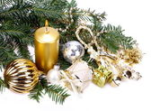 Christmas decoration with candle — Stockfoto