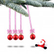Stock Photo: Red Christmas balls and SantClaus