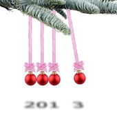 Red Christmas balls new years 2013 — Stock Photo