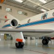 Business aircraft in aircraft hangar — Stock Photo #17992403