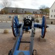 Old, blue cannon in St. Petersberg Citadel Barracks — Stock Photo