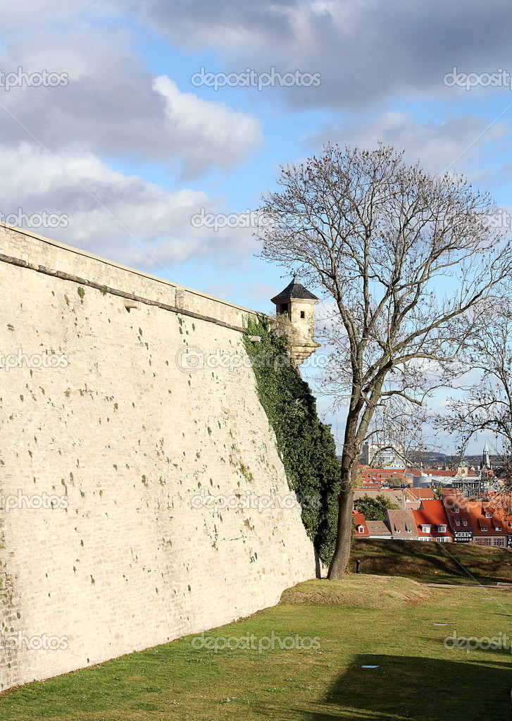 Watch tower and bricks wall in Petersberg Citadel, Erfurt  Stock Photo #18687185