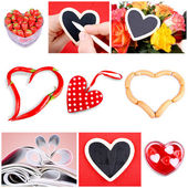 Collage of nine pictures of different heart-shaped items — Stock Photo
