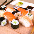 Sushi Dining pleasure for two with wasabi — Stock Photo