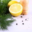 Lemon, dill and black pepper for fish marinade — Stock Photo #21256899
