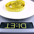 Weight concept. Digital scale with diet ad. — Stock Photo
