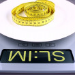 Royalty-Free Stock Photo: Digital scale with slim ad. Weight concept.