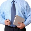 Businessmin blue shirt with appointment book and pen — Stock Photo #21667577
