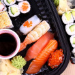 Exclusive sushi menu in transportbox, top view — Foto Stock