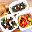 Stock Photo: Mediterraneantipasto with ciabatta, top view