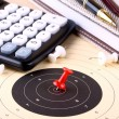 Stock Photo: Calculate target and reach with red pin
