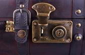 Open old suitcase, close up — ストック写真