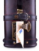 Old suitcase with fifty euro, close up — Stock Photo