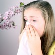Girl blows her nose with handkerchief, cherry blossoms — Stock Photo #24450857