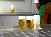 Fresh draft three liters beer at Oktoberfest — Stock Photo
