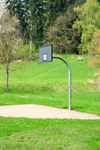 Basketball hoop on green meadow — Stock Photo