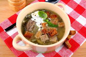 Green soup with egg, meat, cream and croutons — Stock Photo