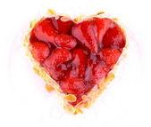 Strawberry cake with almond in heart shape — Foto de Stock