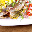 Stock Photo: Grilled trout with quite fine vegetables and cutlery