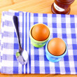 Two boiled eggs with spoon — Foto Stock