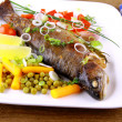 Stock Photo: Grilled trout with quite fine vegetables, cutlery