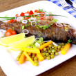 Stock Photo: Grilled trout and quite fine vegetables, cutlery
