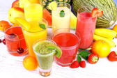 Fruit juice with kiwi, apricot, cherry, watermelon, tangerine, pear — Stock Photo