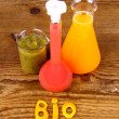 Biochemistry concept and juices from test tube — Stock Photo