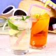 Elderflower, Orange cocktails with holiday background — Stock Photo