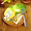 Fish, potato with quark, salad and fork — Stock Photo