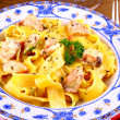 Salmon fish with taglatelle and fork — Stok Fotoğraf #31148739