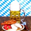 Stock Photo: Beer, white sausage, pretzel and radish - Oktoberfest menu