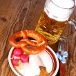 Beer, white sausage, pretzel and radish - Oktoberfest menu — Stock Photo #31181973