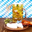 Oktoberfest menu - beer, white sausage, pretzel and radish — Stock Photo #31182103