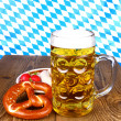 Beer with pretzel, white sausage and radish — Stock Photo #31228053